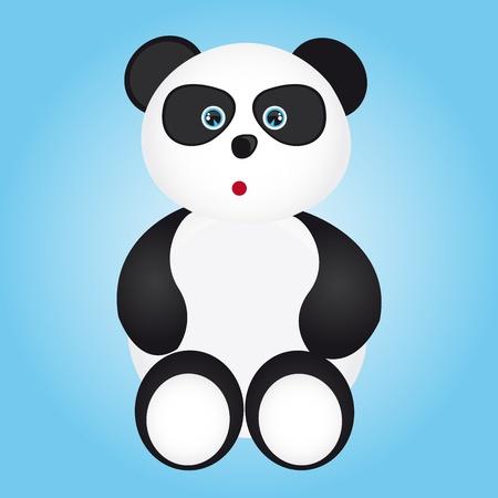 panda cub: caricatura de panda blanco y negro sobre fondo azul. Vector