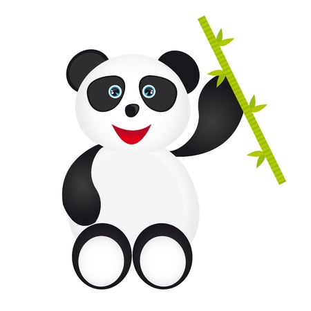 white and black panda cartoon with bamboo isolated over white background Vector