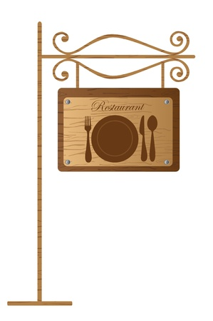 fork in the road: restaurant signboard in wooden isolated over white background. vector Illustration