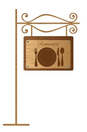 fork road: se�al de restaurante en madera aisladas sobre fondo blanco. Vector Vectores