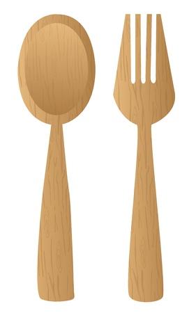 cuchara y tenedor: cubiertos de madera de color marr�n aisladas sobre fondo blanco. vector Vectores