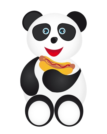 panda with hot dog isolated over white background. vector Stock Vector - 10789969