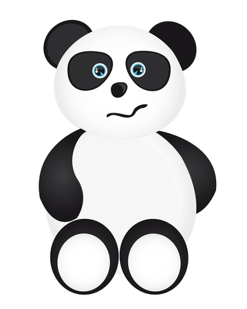 nervous panda cartoon isolated over white background. vector Stock Vector - 10789967