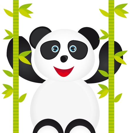 white and black panda cartoon with bamboo isolated over white background Stock Vector - 10790056