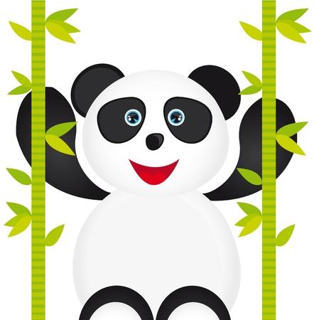 chinese cartoon: white and black panda cartoon with bamboo isolated over white background  Illustration