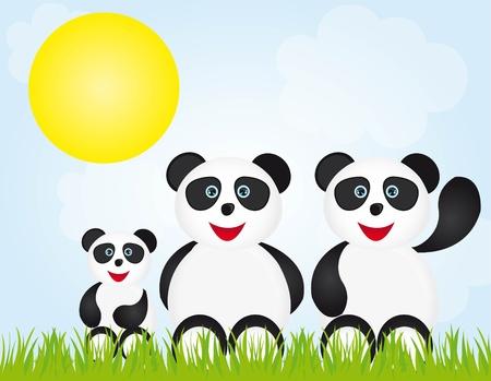 asian happy family: Panda bear Illustration