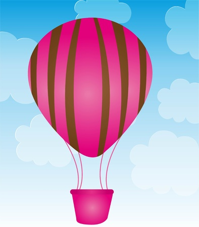 pink and brown ballons over sky background. vector Vector