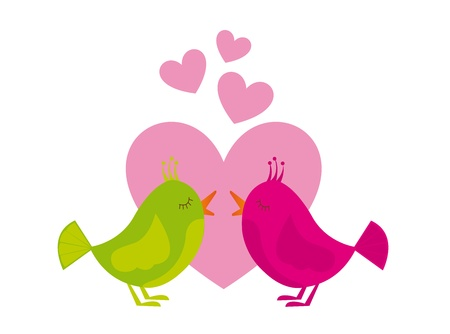 green and pink birds with pink hearths isolated over white background. vector Illustration