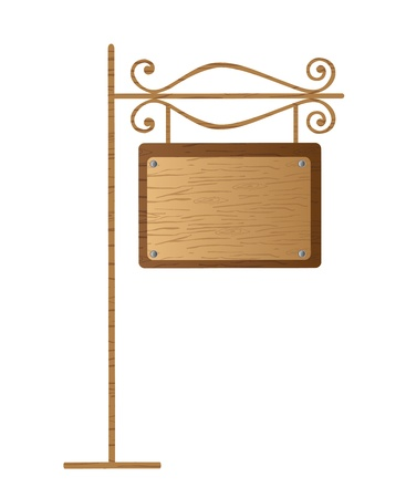 wooden post: brown wooden signboard isolated over white background. vector Illustration