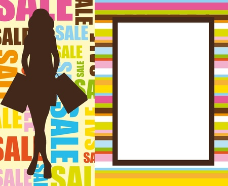 mujer morena silueta de compras sobre fondo venta. vector