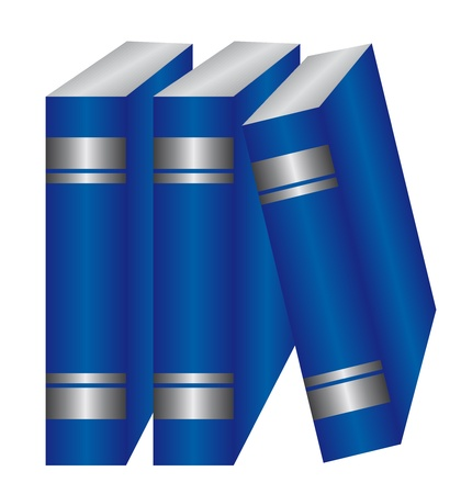 bibliophile: blue and silver books isolated over white background. vector