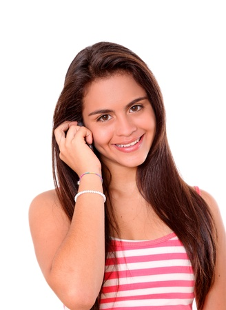 young woman talking cell phone isolated, white background photo
