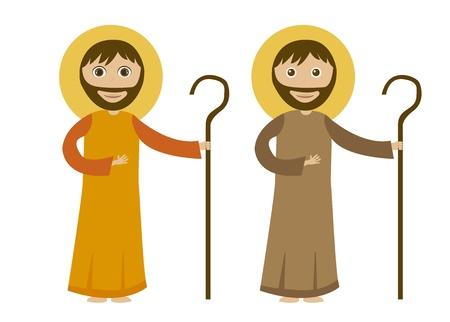 pastor: St. joseph caricatura aislado, fondo blanco. Vector Vectores
