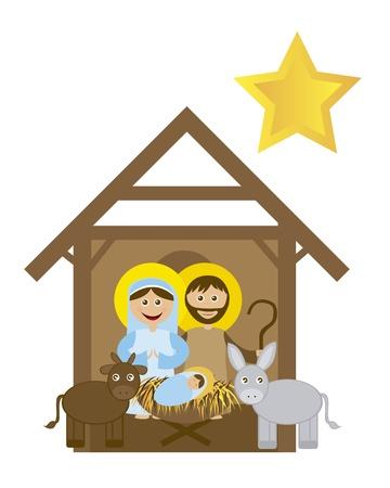 sacra famiglia: Presepe Natale con Sacra famiglia isolato. Vector