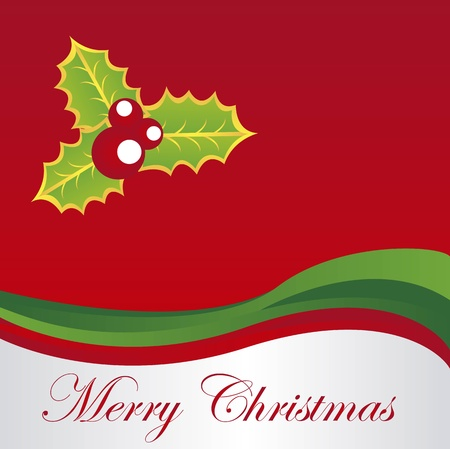 merry christmas over red background. vector Stock Vector - 10947206
