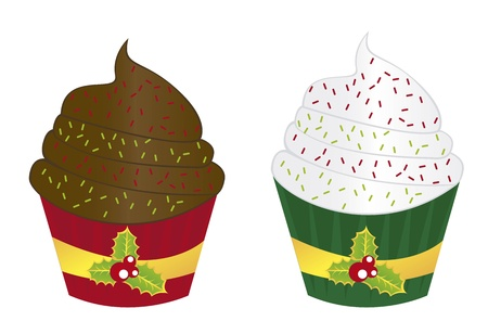 two cupcakes christmas isolated over white background Stock Vector - 10947204
