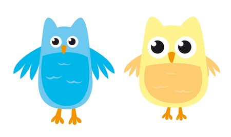 owl cartoons isolated over white background. vector Stock Vector - 10947202