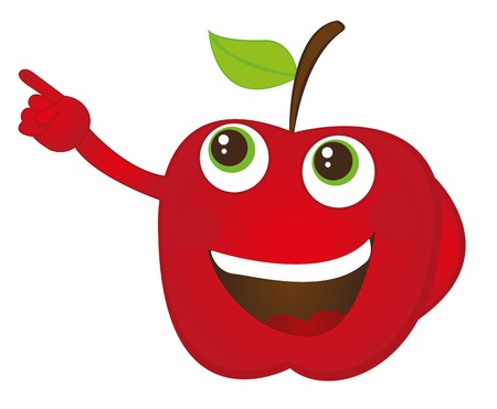 red apple cartoon with hands isolated over whtite background. vector