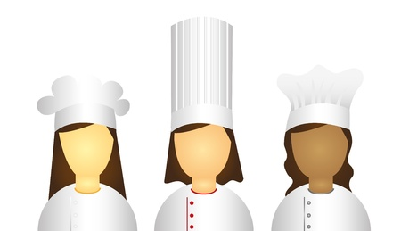 french bakery: woman chef icons isolated over white background. vector