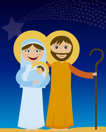 jesus mary and joseph in the night background. vector Vector
