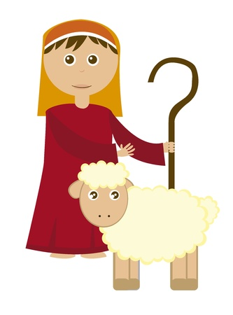 Shepherd boy with sheep isolated over white background. vector Vector