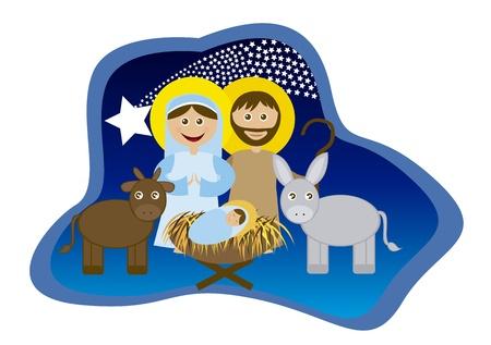 heilige familie: Weihnachtskrippe mit heiliger Familie isoliert. Vektor
