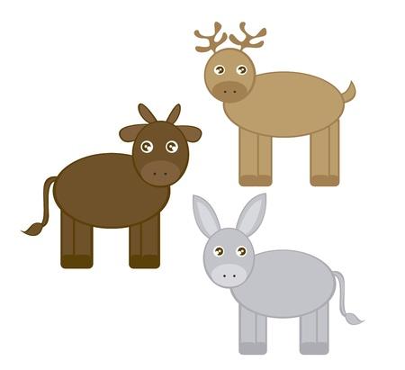 donkey tail: dibujos de renos, el asno y el buey aisladas sobre fondo blanco. vector