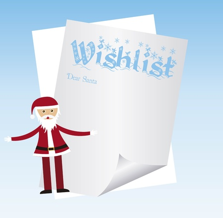 paper wishlist with santa claus over blue background. vector Vector