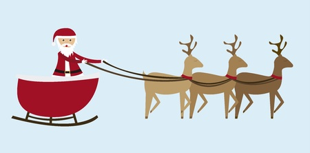 sleigh cartoon  isolated over blue background. vector