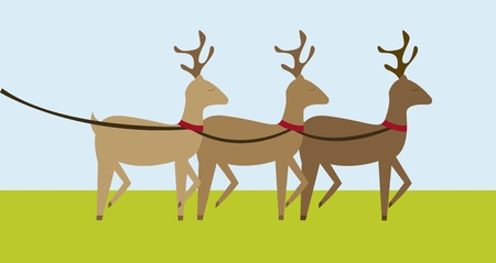 brown reindeers cartoons over grass background. vector