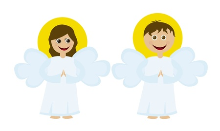 angels cartoons isolated over white background. vector Illustration