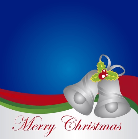 christmas background with silver bells with leaves . vector Stock Vector - 11011069