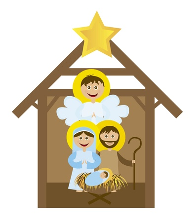 cristian: Christmas nativity scene with holy family isolated. vector