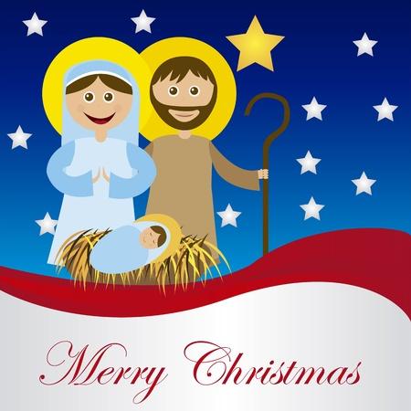 heilige familie: Weihnachtskrippe mit heiliger Familie Karte isoliert. Vektor Illustration