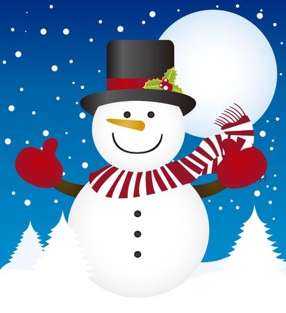 boule de neige: bonhomme de neige mignon sur le paysage d'hiver avec des arbres. vecteur