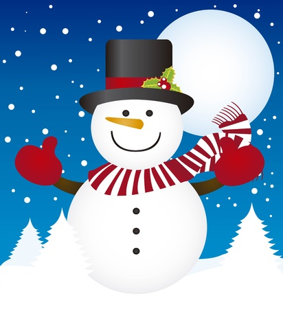 green tophat: cute snowman over winter landscape with trees. vector