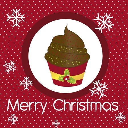 christmas pudding: cup cake christmas with snowflakes over red background. vector