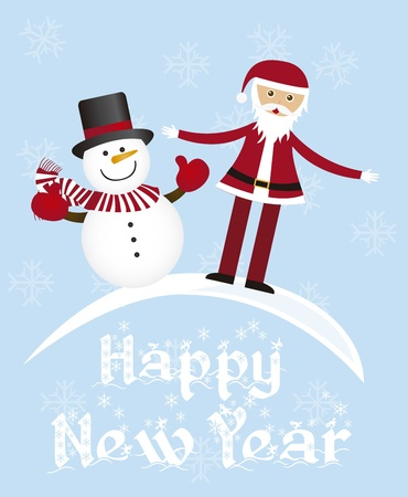 santa claus and snowman card over blue background. vector Vector