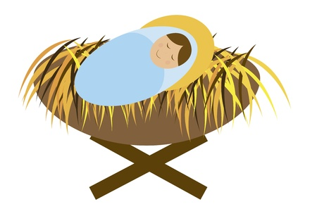 baby jesus geïsoleerd op witte achtergrond. vector
