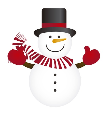 snow man: cute snowman isolated over white background. vector Illustration