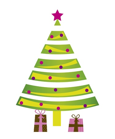 tree christmas isolated over white background. vector Vector