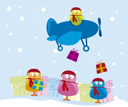 house of santa clause: cute birds over winter christmas background. vector