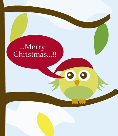 bird with christmas hat over tree over sky. vector Vector