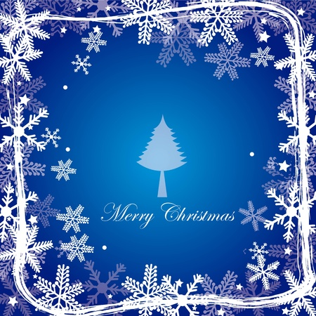 cute christmas background with snowflakes with tree  Vector
