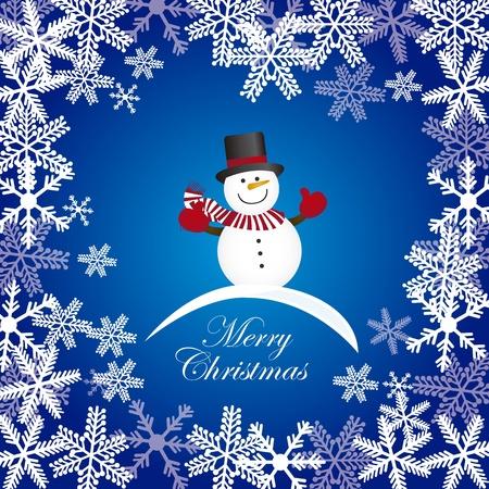 bonhomme de neige sur fond bleu avec des flocons de neige. vecteur