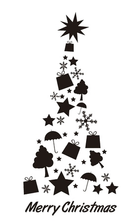 black silhoette tree christmas isolated  over white background. vector Vector