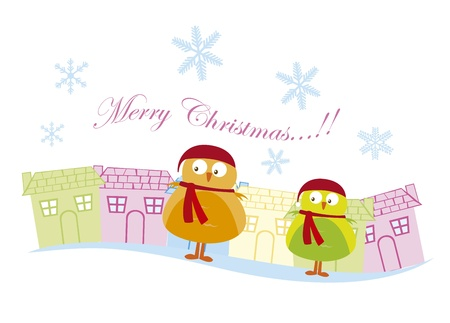 birds with chritstmas hat in the city, merry christmas. vector Vector