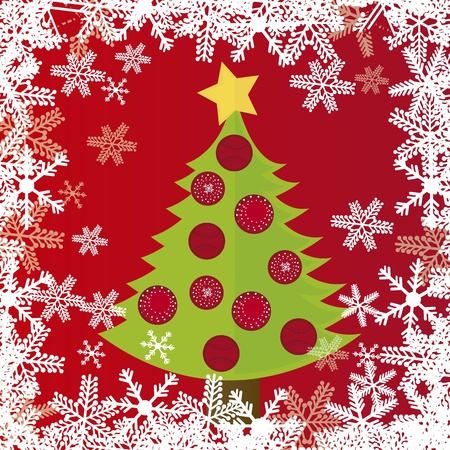 tree christmas over red background with snowflakes. vector Vector