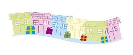 heart tone: casas linda con regalos aislados sobre fondo blanco. vector