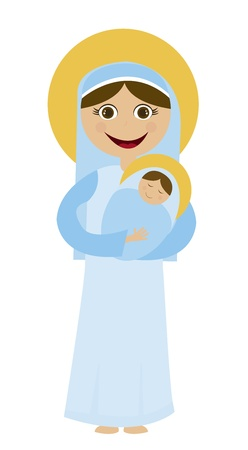 madonna: Virgin Mary  and jesus cartoon isolated over white background. vector